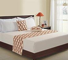 1 Bett-Läufer und 2 Kissen decken gedruckten Faux Seide für Doppelbett, Creme und ro