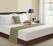 1-Bett-Läufer und 2 Kissen decken gedruckten Faux Seide für Doppelbett, Beige und blau