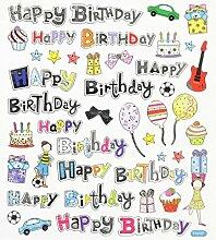 1 Bogen Hobby Design Sticker Happy Birthday