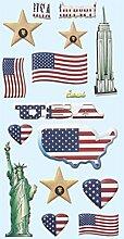 1 Bogen weiche Softy Sticker USA 3D Look Amerika