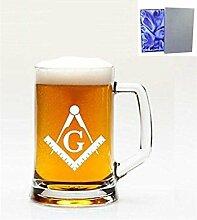 1Englisch Pint Glas Bierkrug mit Masonic Emblem