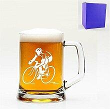 1Englisch Pint Glas Bierkrug mit Radfahrer