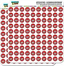 1. ersten Geburtstag, gepunktet, Schwarz/Rot, 1,3 cm (1.27 Scrapbooking Handwerk cm) Aufkleber