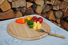 1 Grill Pizzabrett, Flammkuchen Servierbrett, Holzbrett rund, PREMIUM-QUALITÄT, groß Holz,mit umlaufender Rille - Ölrille / Saftrille -, je ca. 28 cm, als Bruschetta-Pita-Döner-Naan-Roti-Ciabatta-Langos-Chubz-Servierbretter, Grill-Schneidebrett Grill-Schneidebrettchen, Grillbrettchen,Anrichtebretter, Brotzeitbretter, Steakteller schinkenbrett rustikal, Schinkenteller von BTV