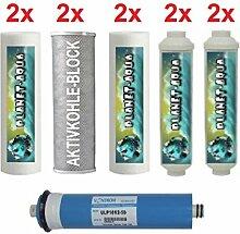 1 Jahr Ersatzfilter Set für 6 Stufen Wasserfilter Umkehrosmose Osmoseanlage inkl Membran Filter Kartuschen 10 Zoll für Wasser Aquarium Fische Trinkwasser Osmose 6 x Filtereinsatz und 4 Inline Patronen
