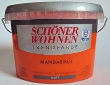 1 L Schöner Wohnen Trendfarbe, cremige Wand- und Deckenfarbe, Mandarino Ma