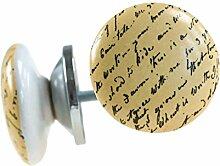 1 Möbelknopf, Möbelgriff, Möbelknopf, Knauf Keramik 36 mm, Script #01182