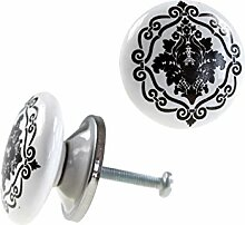 1 Möbelknopf, Möbelgriff, Möbelknopf, Knauf Keramik 37 mm, Ornaments Raute #0156