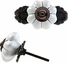 1 Möbelknopf, Möbelgriff, Möbelknopf, Knauf Keramik 45mm m. Platte, Pumpkin #0671