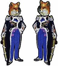 1Paar aufreihmaterialien Kristall Fox Duke Soldier Stickerei Stoff Patches Eisen auf Aufnäher Abzeichen Aufkleber Kleidung DIY Nähen