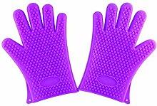 1Paar Home Grill Silikon Hitze Halter Handschuhe viole