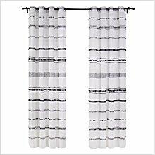 1 Paar Leinen Licht Transmission 70% Schatten Fenster Vorhang Schirm , 55*87in