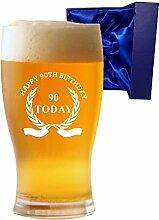 1Pint Tulip Bier Glas mit Happy 90th Birthday