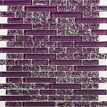 1 qm 30cm x 30cm Glasmosaik Fliesen Matte in Lila