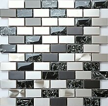 1 qm Edelstahl und Gebrochener Glas Optik Mosaik
