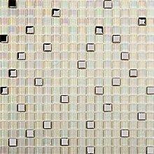 1 QM Glas Mosaik Fliesen in Silber und Perlglanz