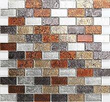 1 Qm Glas Mosaik Wandfliesen Rot, Gold, Silber,