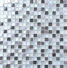1 QM Glas und Gebürstet Edelstahl Mosaik Fliesen