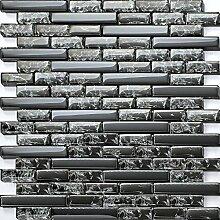 1 qm Glasmosaik Fliesen Schwarz Gebrochen und Klar