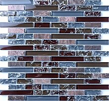 1 Qm klare und gebrochener Glas optik und Stein Mosaik Fliesen Matte in blau und braun (MT0156 Quadratmeter)
