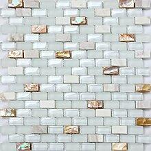 1 QM Muschel, Stein und Glas Mosaik Wand Fliesen Matte in Perlmutt und Weiß (MT0148 Quadratmeter)