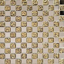 1 qm Silber Edelstahl und texturiert Gold Glas