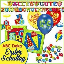 1. Schultag Dekoset - Girlande, Konfetti, Ballons, Servietten, Deckenhänger, Luftschlangen
