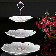 1Set 6Farben Kuchen Teller Ständer 2oder 3Etagen Beschläge Mitte Griff Armatur Hardware Rod, 3 tie pink, 1.5 cm