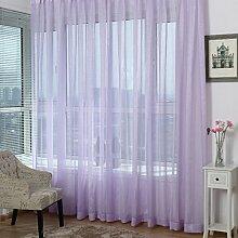 1 Stk. Voile Transparente Gardine Ösen Schlaufenvorhang mit Linie Design BxH 200x270cm, Licht lila