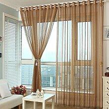 1 Stk. Voile Transparente Gardine Ösen Schlaufenvorhang mit Linie Design BxH 150x270cm, Kaffee
