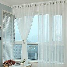 1 Stk. Voile Transparente Gardine Ösen Schlaufenvorhang mit Linie Design BxH 350x270cm, Weiss