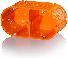 1 Stück 2er Hohlwanddose mehrfach massiv orange Gerätedose Schalterdose Einbaudose Trockenbau