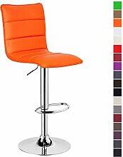 1 Stück Barstuhl ,1 x Barhocker Design Bar Hocker , stufenlose Höhenverstellung , verchromter Stahl , pflegeleichter Kunstleder , gut gepolsterte Sitzfläche , Antirutschgummi , Orange, BH15or-1