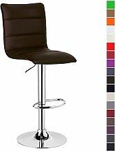 1 Stück Barstuhl ,1 x Barhocker Design Bar Hocker , stufenlose Höhenverstellung , verchromter Stahl , pflegeleichter Kunstleder , gut gepolsterte Sitzfläche , Antirutschgummi , Braun, BH15br-1