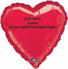 1 Stück Folienballon 'Herz', rot, ca. 45 cm
