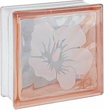 1 Stück Glasbaustein / Glasstein Wolke Rosa mit Motiv Blume 19x19x8 cm