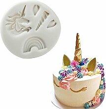 1 Stück Monocerus Einhorn Horn/Kopf Schokoladenform Silikon Fondantformen für Seifen Süßigkeiten Schokolade Gummies Ton Machen Kuchen Formen Backen Werkzeuge DIY Dekorieren Form