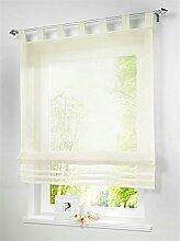 1 Stueck Raffrollo Schlaufen Gardinen Fenster-Vorhang Schal,B 120cm * H 155cm Beige