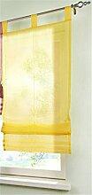 1 Stueck Raffrollo Schlaufen Gardinen Fenster-Vorhang Schal,B 140cm * H 155cm Gelb
