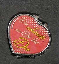 1 Taschenspiegel in Herzform - diverse lustige