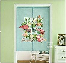1 Teil Flamingo Cartoon Baumwolle Leinen Tür Vorhang für Schlafzimmer Badezimmer Tapisserie Raumteiler Wandbehänge (85 x 140 cm, Flamingo 2)