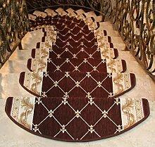 1-teilige Treppenstufen Teppich-Sets Rutschfeste Treppenmatten Keine Installation erforderlich Langlebig , brown
