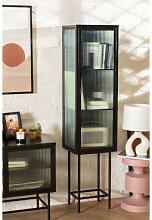 1 Tür Vitrine aus Metall und vertikalem Glas