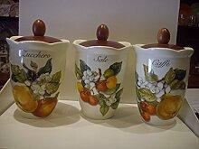 1Vorratsdose luftdicht Küche Keramik mit Deckel aus Holz Neue CER Corbezzoli