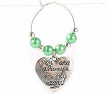 1 x Antik Silber/Grün Messing 47mm Weinglas Charme Ring - (Y06285) - Charming Beads
