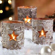 1 x Birken Teelichthalter Windlicht Dekoration Garten Holz & Glas mit Stern
