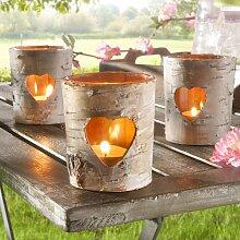 1 x Birken Teelichthalter Windlicht Dekoration Garten Holz und Glas mit Herz