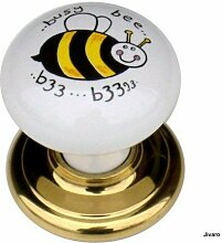 1 x Busy bee 50mm white solid ceramic porcelain and polished brass effect cupboard cabinet knob. by Swish