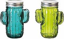 1 x Dekoleuchte Kaktus Glas grün Lichterkette m.