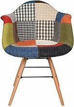 1 x Design Klassiker Patchwork Sessel Retro 50er Jahre Barstuhl Wohnzimmer Küchen Stuhl Esszimmer Sitz Holz Metall bun